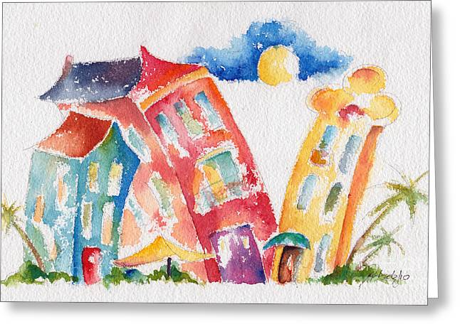 Colorful Buildings Greeting Cards - Buddy Buildings Greeting Card by Pat Katz