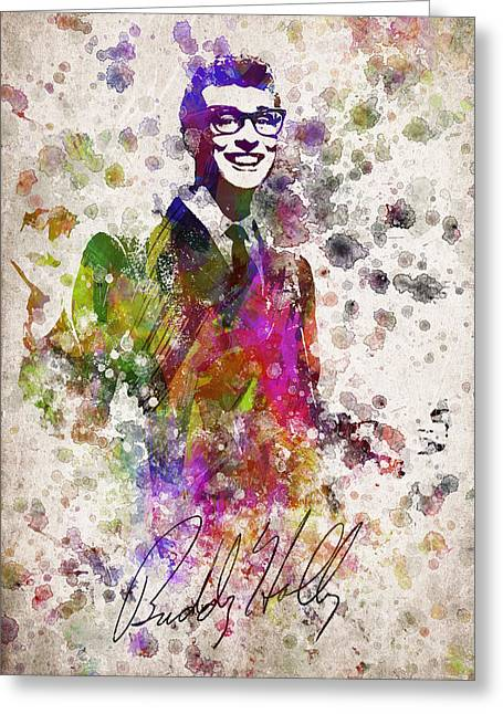 Cricket Greeting Cards - Buddy Holly in Color Greeting Card by Aged Pixel