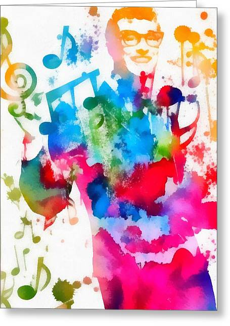 Lubbock Greeting Cards - Buddy Holly Music Man Paint Splatter Greeting Card by Dan Sproul