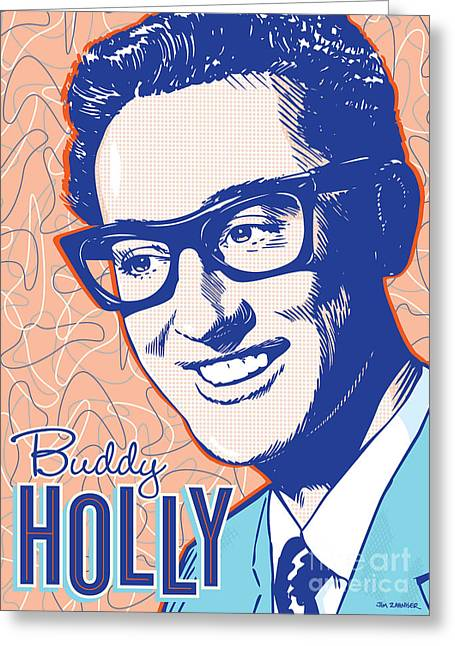 Sue Greeting Cards - Buddy Holly Pop Art Greeting Card by Jim Zahniser
