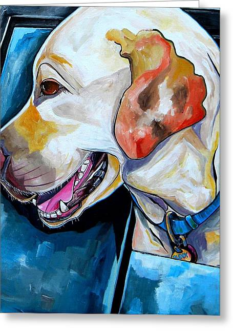 White Lab Greeting Cards - Buddy Greeting Card by Patti Schermerhorn