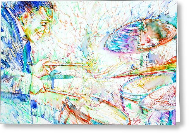 Drum Paintings Greeting Cards - BUDDY RICH playing Greeting Card by Fabrizio Cassetta