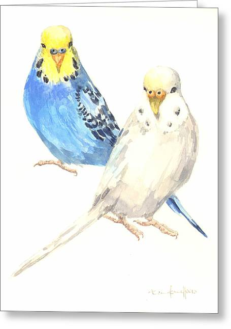 Parakeet Paintings Greeting Cards - Budgerigar Painting Greeting Card by Alison Fennell
