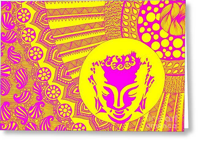 Budha Meditating Greeting Card by Sketchii Studio