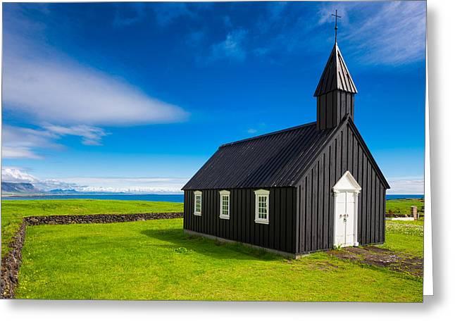 Schwarz Greeting Cards - Budir black church West Iceland Europe Greeting Card by Matthias Hauser