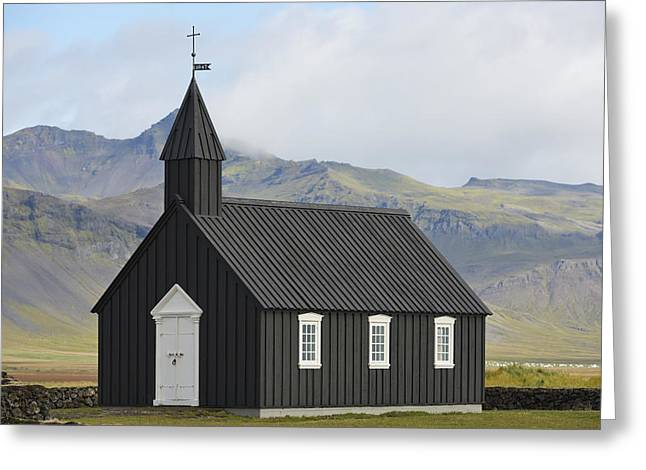 The Wooden Cross Greeting Cards - Budir Church Stadarsveit, Snaefellsnes Greeting Card by Michael Thornton