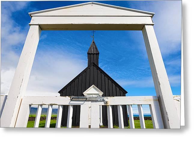Europe Greeting Cards - Budir Iceland - black church white entrance Greeting Card by Matthias Hauser