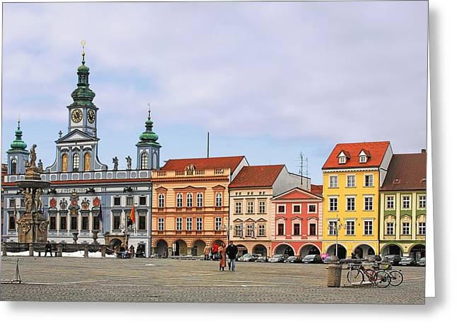 Townhouses Greeting Cards - Budweis - Namesti Premysla Otakara II Greeting Card by Christine Till
