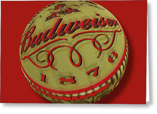 Black Top Greeting Cards - Budweiser Cap Orb Greeting Card by Tony Rubino