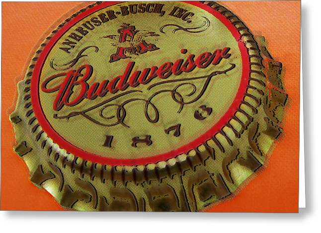 Busch Greeting Cards - Budweiser Cap Greeting Card by Tony Rubino
