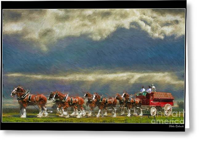 Horse Websites Greeting Cards - Budweiser Clydesdale Paint 2 Greeting Card by Blake Richards