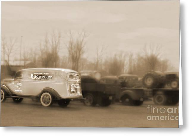 Old Trucks Digital Greeting Cards - Budweiser Everywhere  Greeting Card by Steven  Digman