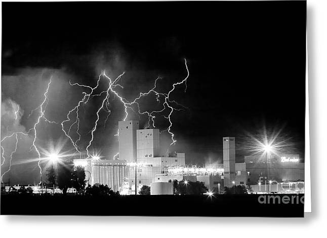 Images Lightning Greeting Cards - Budweiser Lightning Thunderstorm Moving Out BW Pano Greeting Card by James BO  Insogna