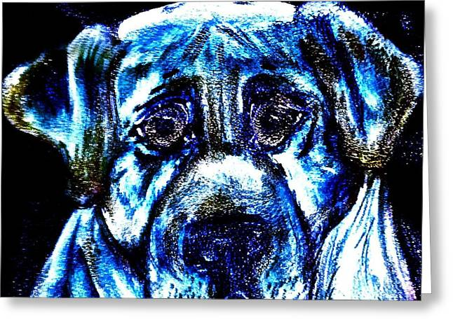 Lucky Dogs Greeting Cards - Bue Dog Greeting Card by Heather Grieb