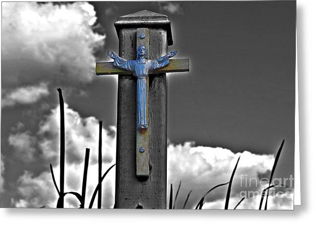 Resurrected Lord Photographs Greeting Cards - Bue Jesus Greeting Card by Rick Bravo