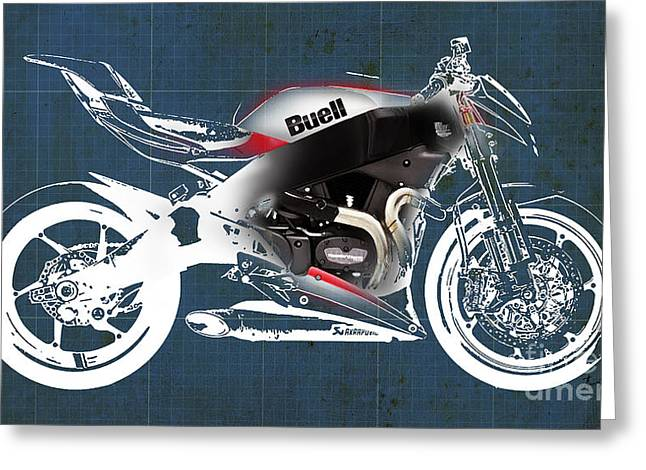 Motorcycles Mixed Media Greeting Cards - Buell motorcycle Greeting Card by Pablo Franchi