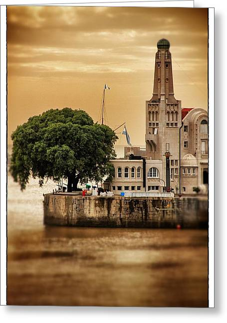 Buenes Aires Guide Greeting Cards - Buenos Aires Lighthouse Dramatic Greeting Card by For Ninety One Days