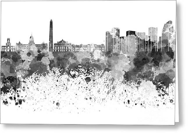 Buenos Aires Art Greeting Cards - Buenos Aires skyline in black watercolor on white background Greeting Card by Pablo Romero