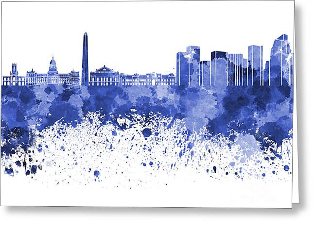 Buenos Aires Art Greeting Cards - Buenos Aires skyline in blue watercolor on white background Greeting Card by Pablo Romero