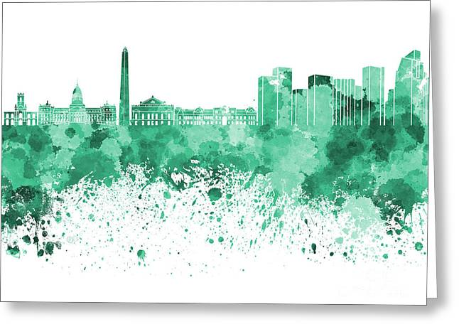 Buenos Aires Art Greeting Cards - Buenos Aires skyline in green watercolor on white background Greeting Card by Pablo Romero