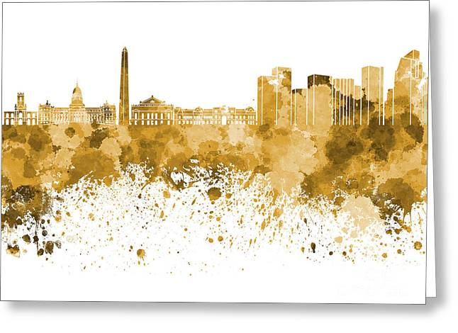Buenos Aires Art Greeting Cards - Buenos Aires skyline in orange watercolor on white background Greeting Card by Pablo Romero