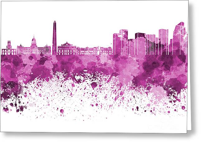 Buenos Aires Art Greeting Cards - Buenos Aires skyline in pink watercolor on white background Greeting Card by Pablo Romero