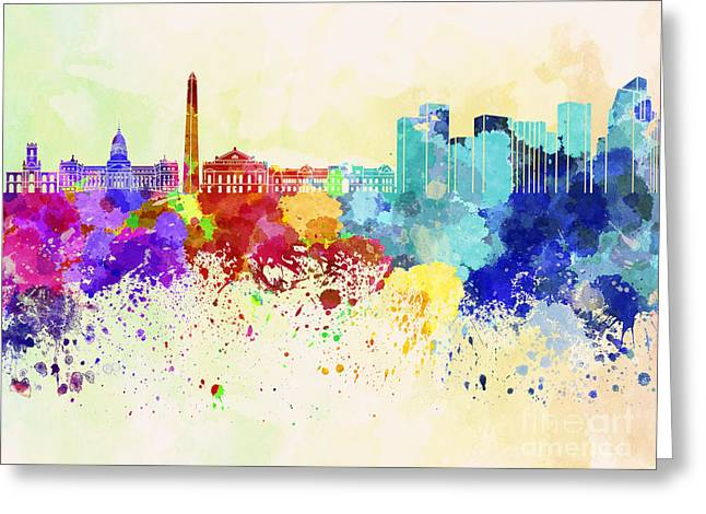 Buenos Aires Art Greeting Cards - Buenos Aires skyline in watercolor background Greeting Card by Pablo Romero