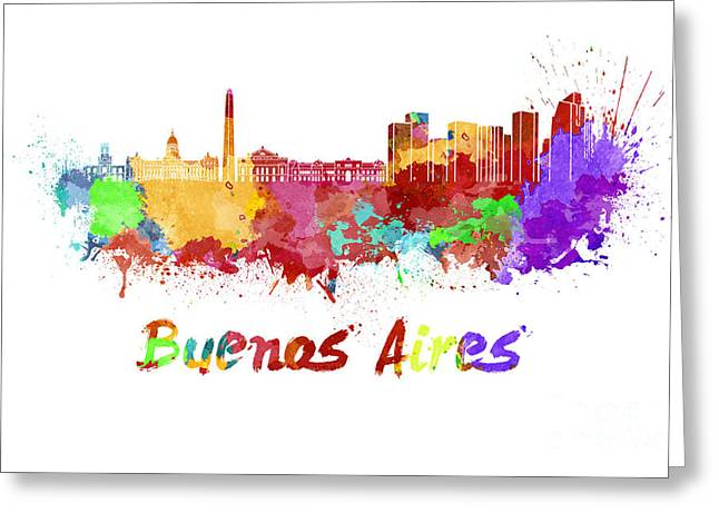 Buenos Aires Art Greeting Cards - Buenos Aires skyline in watercolor Greeting Card by Pablo Romero