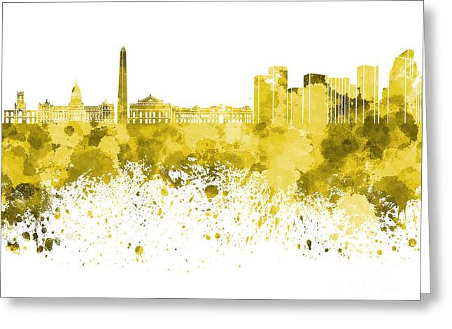 Buenos Aires Art Greeting Cards - Buenos Aires skyline in yellow watercolor on white background Greeting Card by Pablo Romero