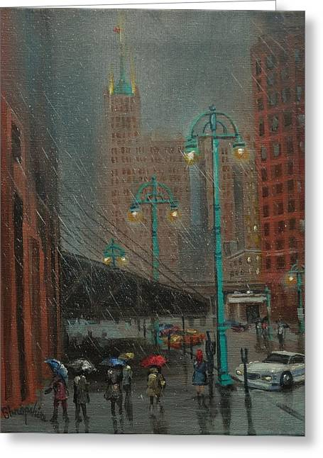 City Rain Greeting Cards - Buffalo and Broadway Greeting Card by Tom Shropshire