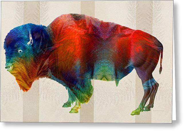 Sacred Paintings Greeting Cards - Buffalo Animal Print - Wild Bill - By Sharon Cummings Greeting Card by Sharon Cummings