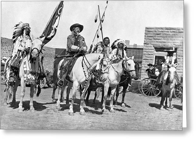 Buffalo Bill And Friends Greeting Card by Underwood Archives