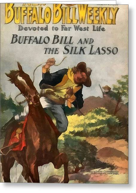 The American Buffalo Greeting Cards - Buffalo Bill And The Silk Lasso Greeting Card by Dime Novel Collection
