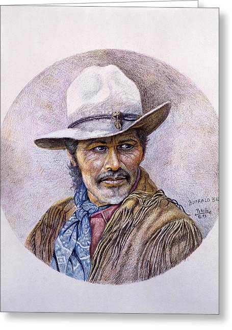 Western Pencil Drawings Greeting Cards - Buffalo Bill Greeting Card by Gregory Perillo