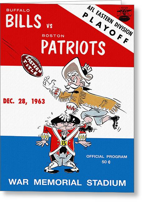 War Memorial Stadium Greeting Cards - Buffalo Bills 1963 Playoff Program Greeting Card by Big 88 Artworks