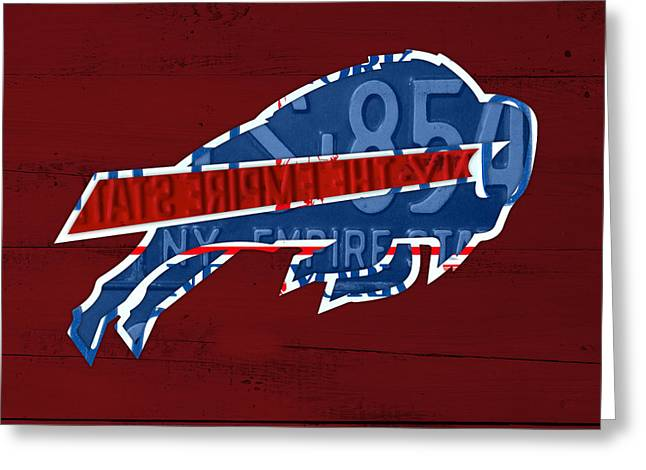 Buffalo Mixed Media Greeting Cards - Buffalo Bills Football Team Retro Logo New York License Plate Art Greeting Card by Design Turnpike