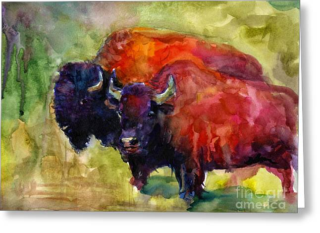 Hunting Drawings Greeting Cards - Buffalo Bisons painting Greeting Card by Svetlana Novikova