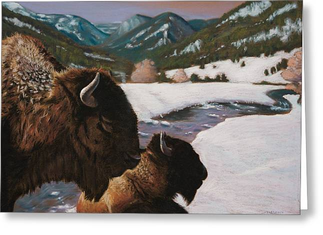 Buffalo Paintings Greeting Cards - Buffalo Greeting Card by Christopher Reid