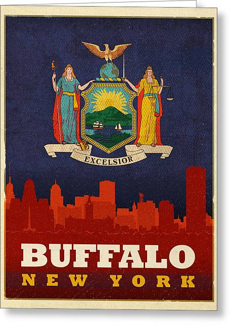 Buffalo Mixed Media Greeting Cards - Buffalo City Skyline Flag of New York State Art Poster Series 003 Greeting Card by Design Turnpike