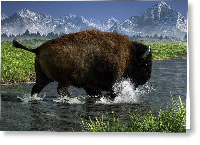 Buffalo Crossing A River Greeting Card by Daniel Eskridge