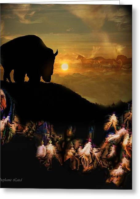 Spirit Catcher Greeting Cards - Buffalo Dream Greeting Card by Stephanie Laird