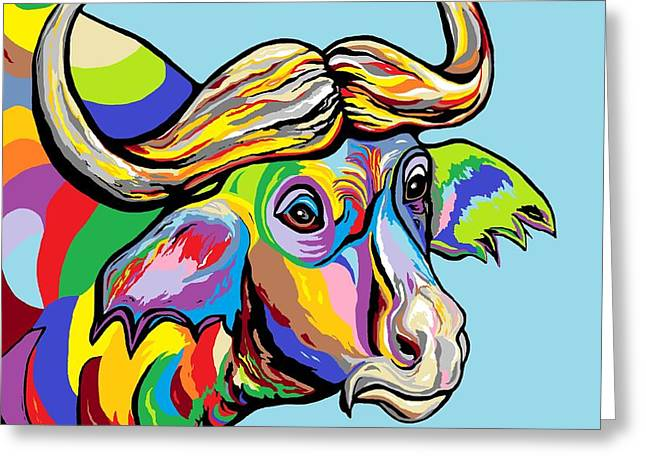 Arizona Contemporary Cowboy Greeting Cards - Buffalo Greeting Card by Eloise Schneider