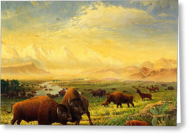 The American Buffalo Paintings Greeting Cards - Buffalo Fox Great Plains western Landscape oil painting - Bison - americana - Square Format Greeting Card by Walt Curlee