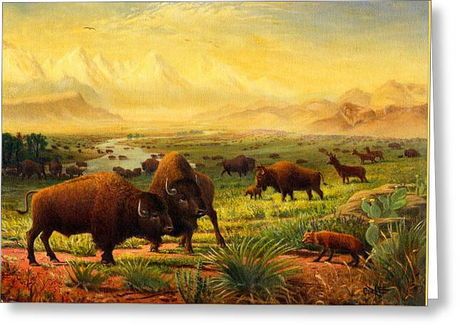 The American Buffalo Greeting Cards - Buffalo Fox Great Plains western Landscape oil painting - Bison - americana - Square Format Greeting Card by Walt Curlee