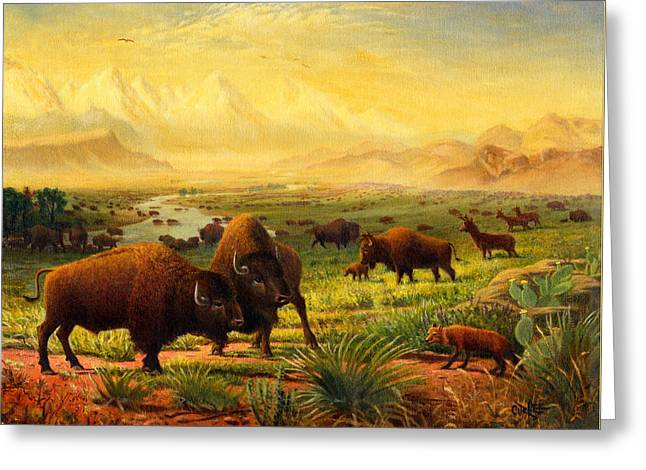 On The Plains Greeting Cards - Buffalo Fox Great Plains western Landscape oil painting - Bison - americana - Square Format Greeting Card by Walt Curlee