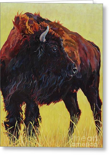 Utter Greeting Cards - Buffalo Girl Greeting Card by Patricia A Griffin