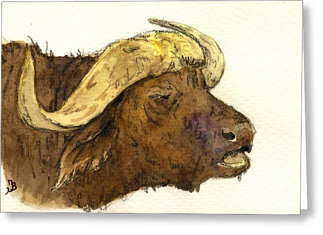 Buffalo Greeting Cards - Buffalo head Greeting Card by Juan  Bosco