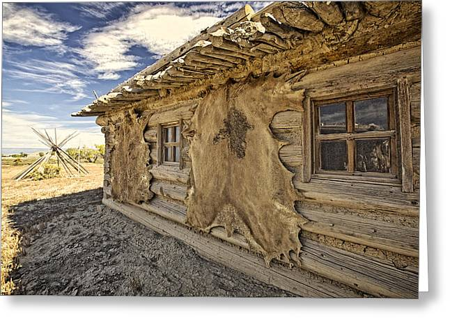 Old Cabins Greeting Cards - Buffalo Hide on Trading Post Colorado Greeting Card by James Steele