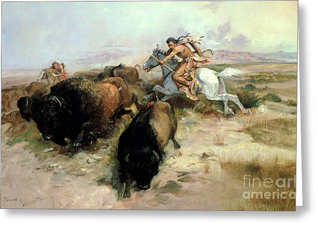 Indigenous Greeting Cards - Buffalo Hunt Greeting Card by Charles Marion Russell