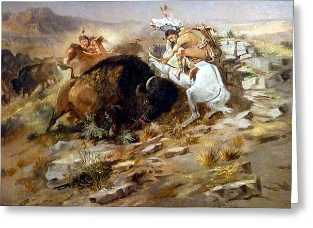 Buffalo Greeting Cards - Buffalo Hunt Greeting Card by Charles Russell